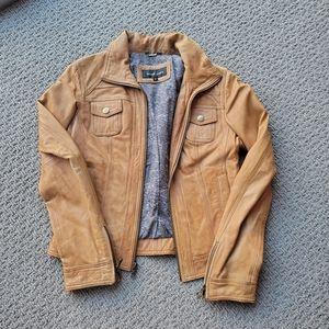 Black rivet tan leather jacket